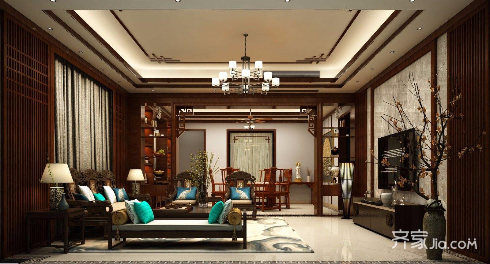 大户型混搭风格四房客厅装修效果图