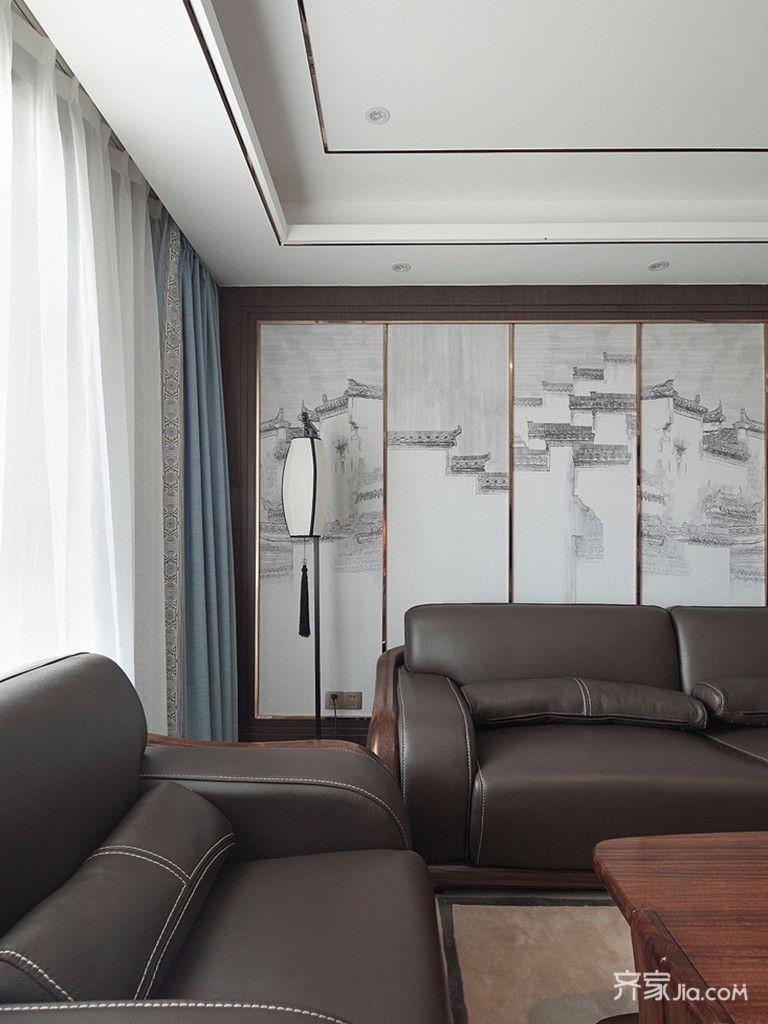现代中式风格四居沙发背景墙装修效果图