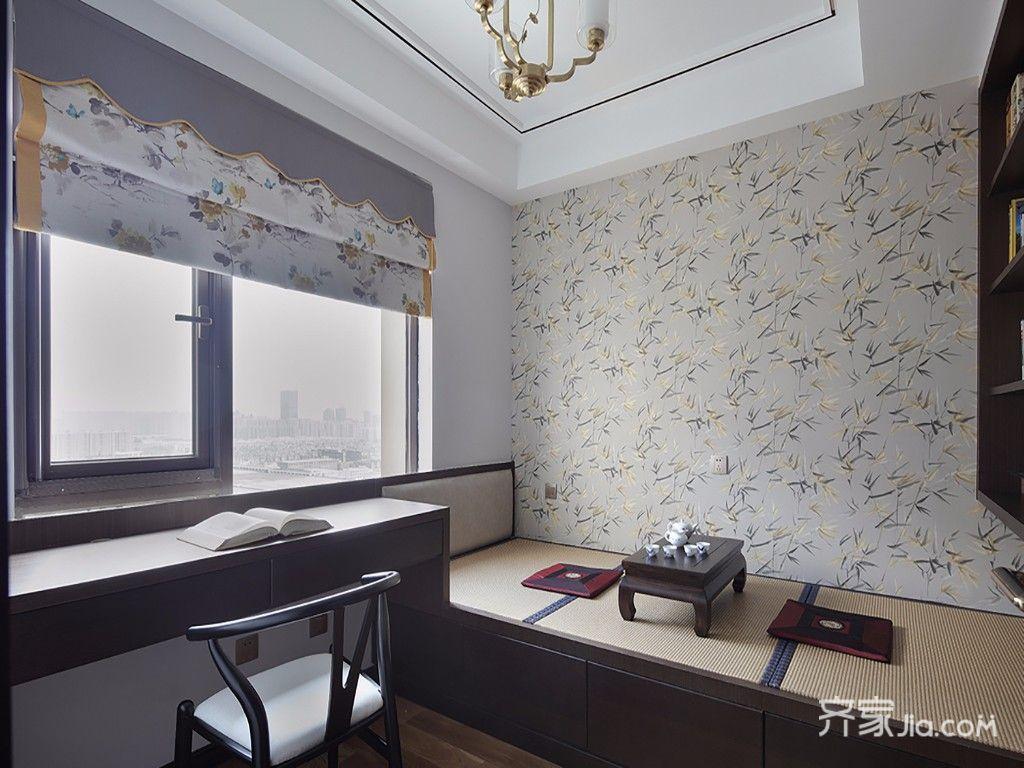 现代中式风格四居书房装修效果图