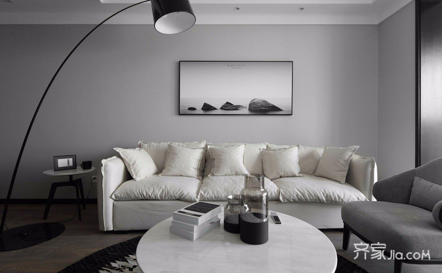 140平极简风三居沙发背景墙装修效果图