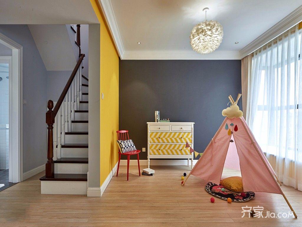 140平美式三居儿童房装修设计效果图