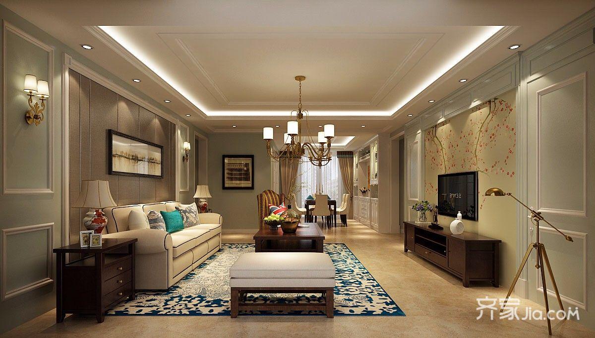 美式大户型客厅装修设计效果图