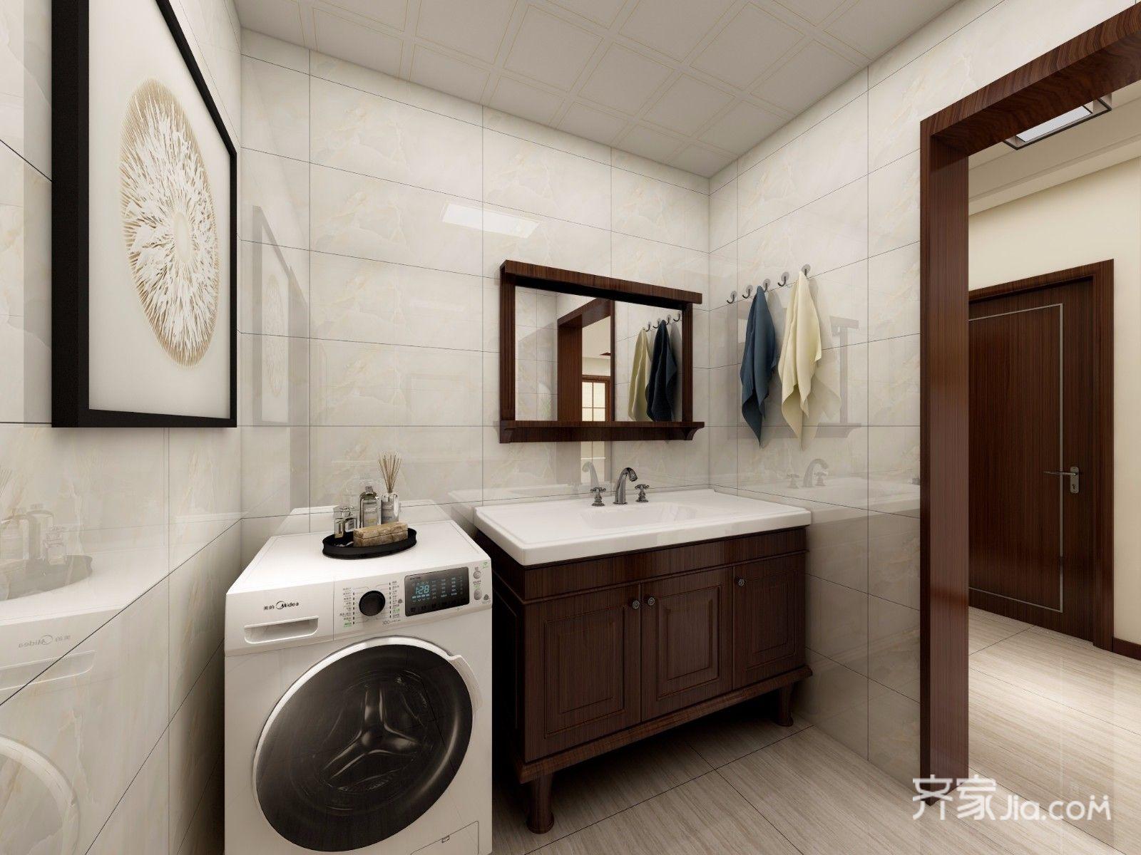 167平新中式风格装修洗手台效果图