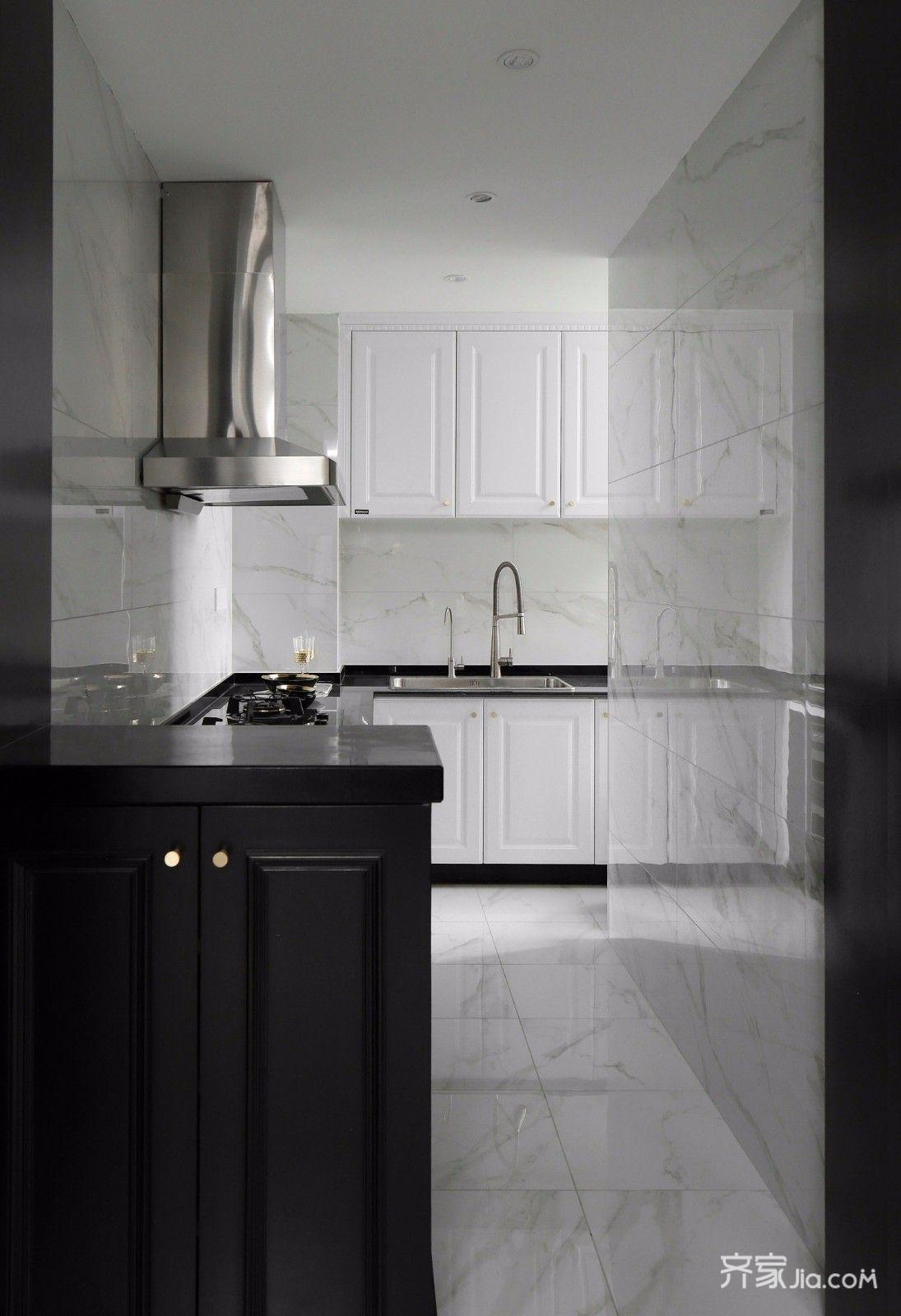 黑白现代轻奢风厨房装修效果图