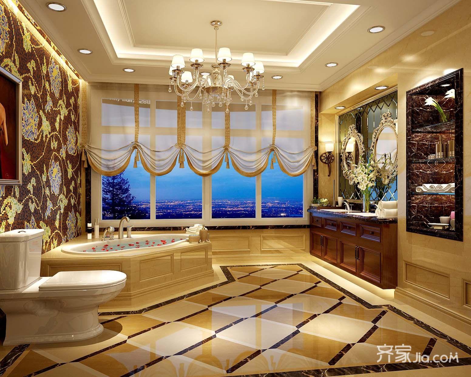 大户型欧式豪华别墅卫生间装修效果图
