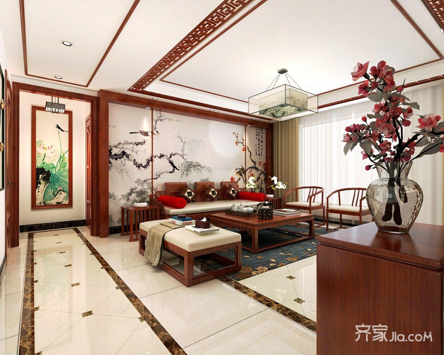 大户型中式四居客厅吊顶装修效果图