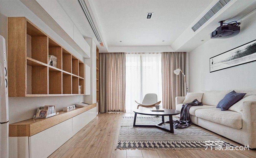110平日式风格二居客厅吊顶装修效果图