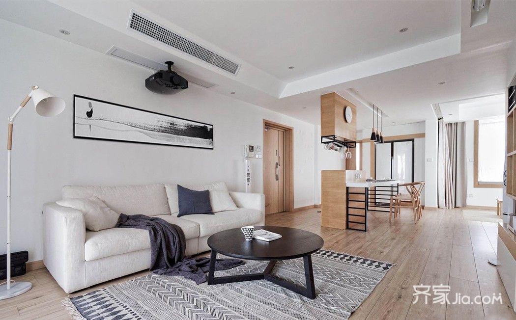 110平日式风格二居沙发背景墙装修效果图