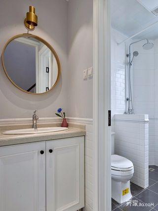 140平美式三居装修卫生间布局图