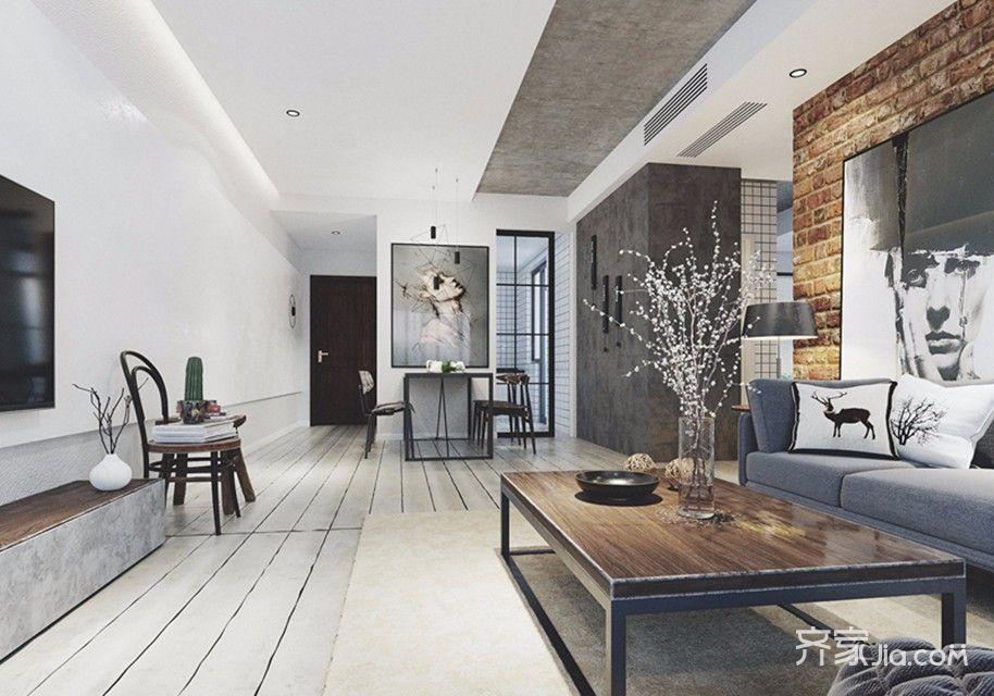 黑白灰工业风三居客厅装修效果图