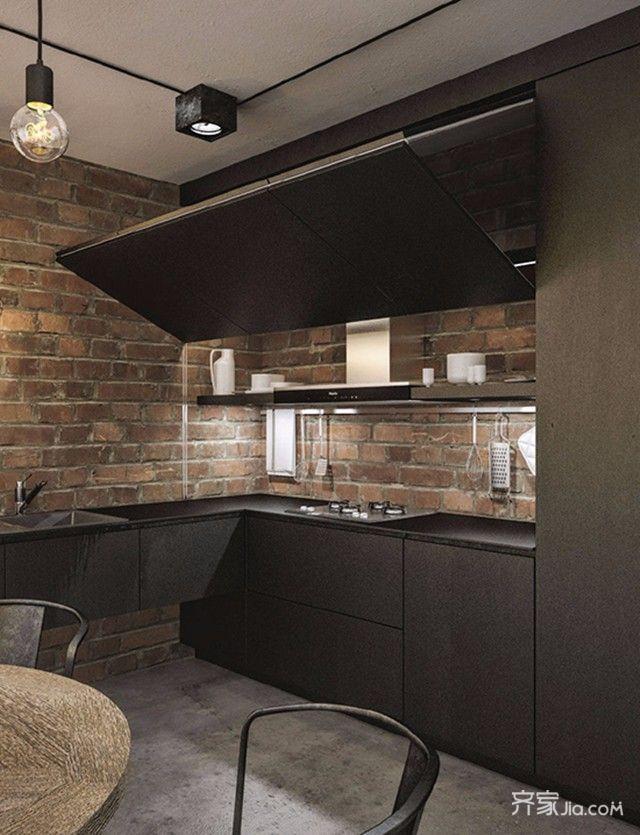 黑白灰工业风三居厨房装修效果图