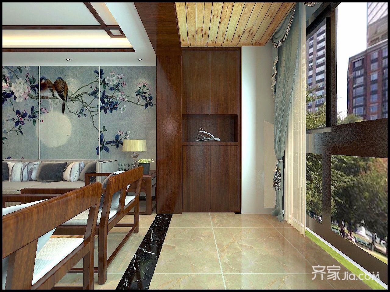 110㎡新中式三居室阳台装修效果图
