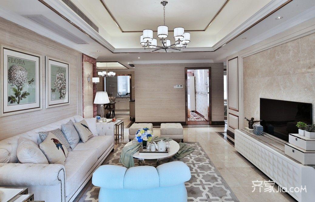 现代欧式风格三居客厅装修效果图