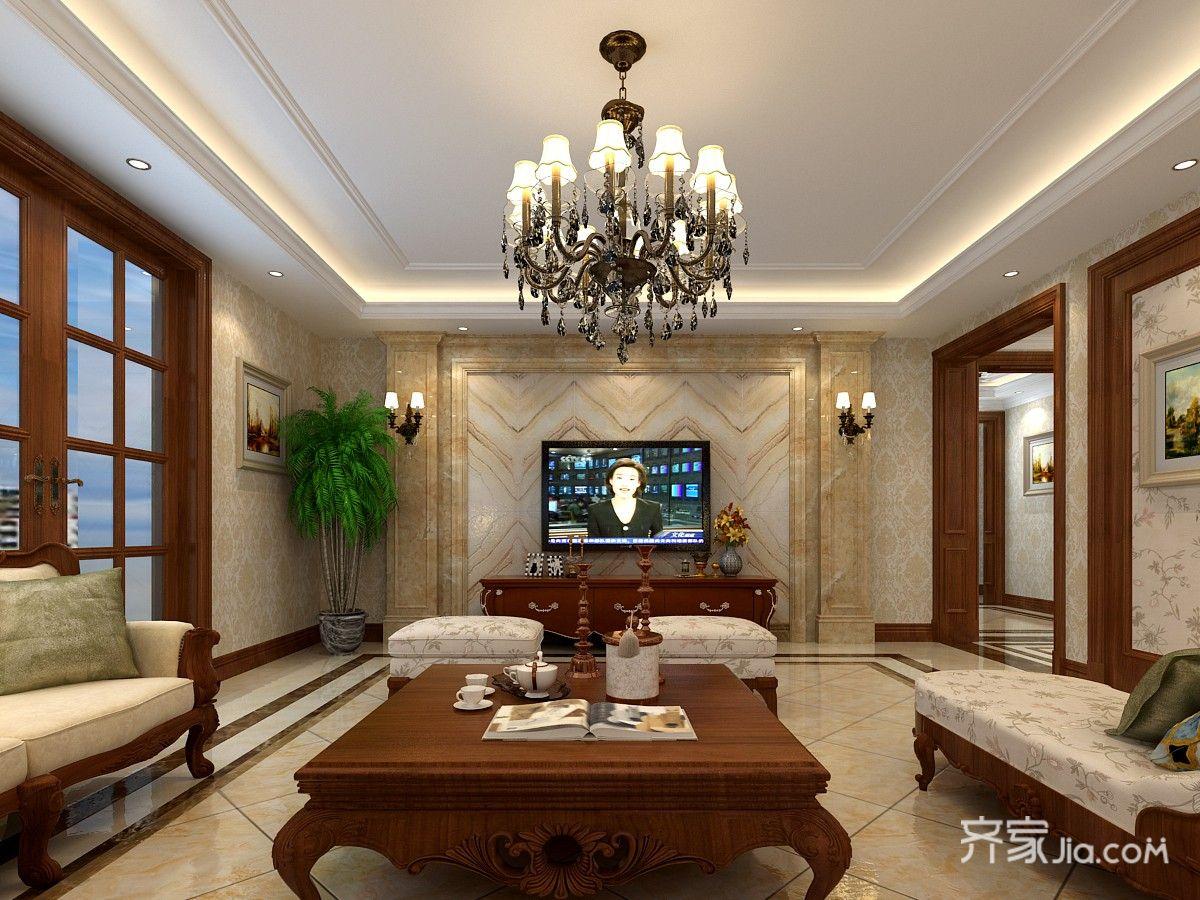 170平米美式风格电视背景墙装修效果图