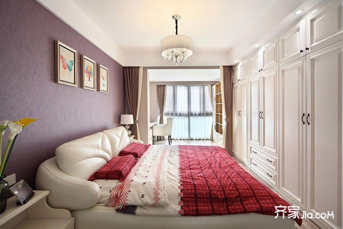 现代混搭三居室装修床头背景墙效果图