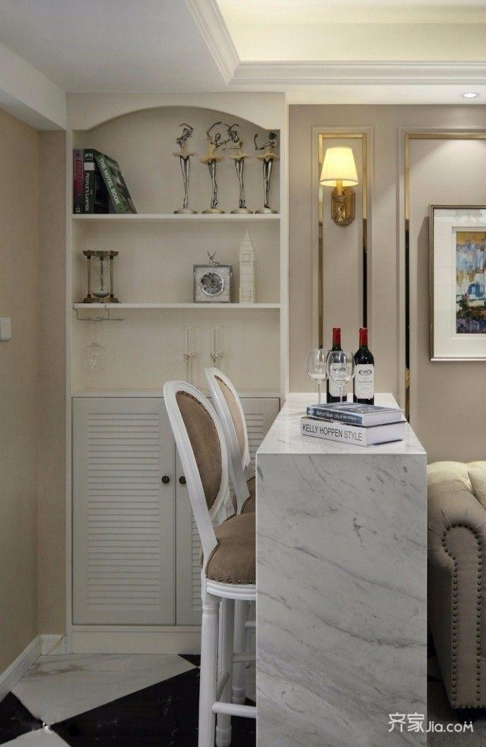60平米混搭两居室装修吧台设计图