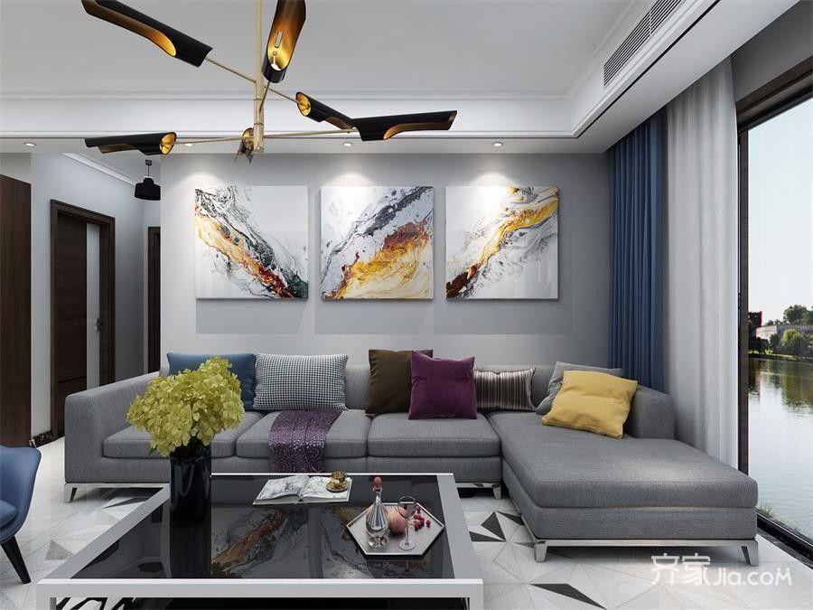 三居室现代简约沙发背景墙装修效果图