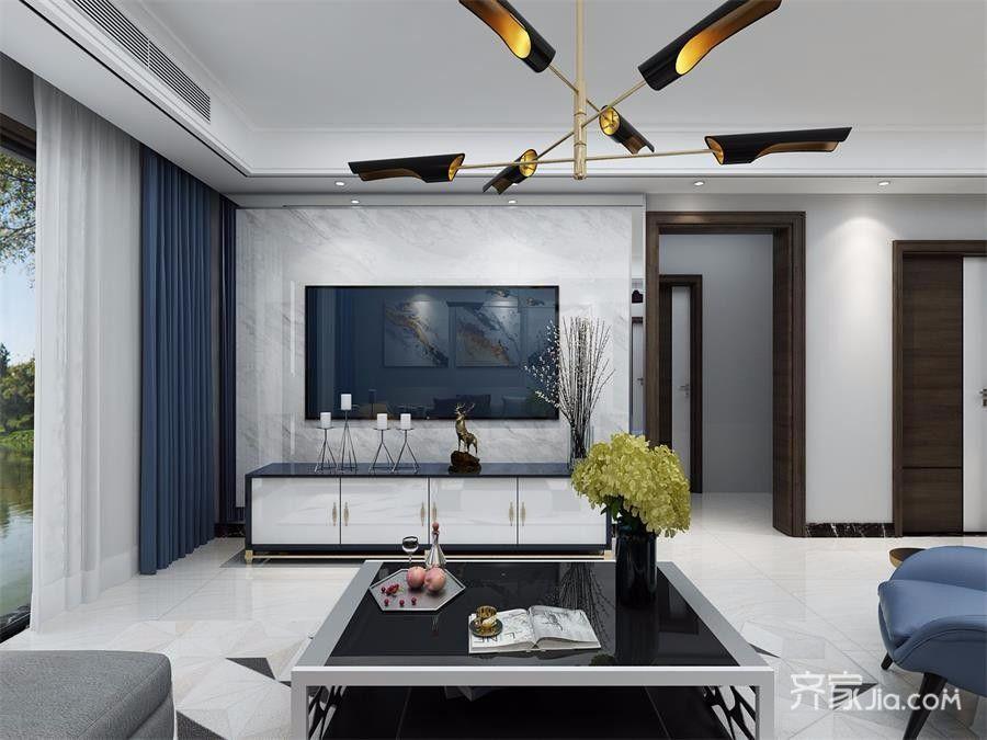 三居室现代简约电视背景墙装修效果图