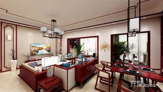 134平米中式风格客餐厅装修效果图