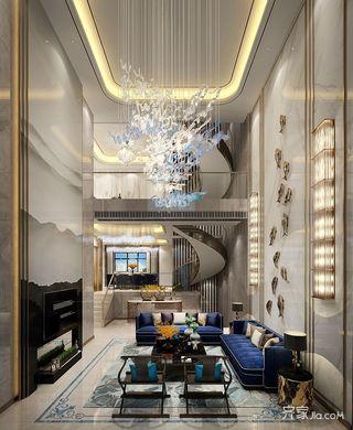 现代轻奢风别墅客厅装修效果图