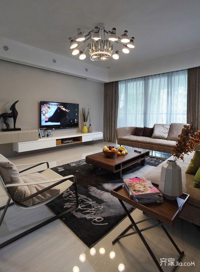 120平现代简约风格电视背景墙装修效果图