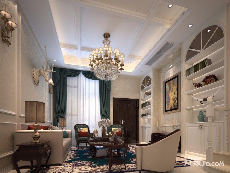 200平欧式风格别墅客厅吊顶装修效果图