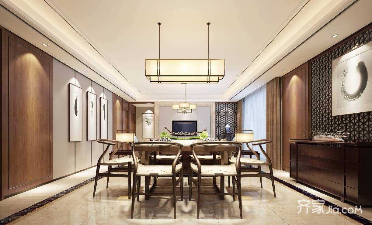 140平米新中式风格餐厅装修效果图