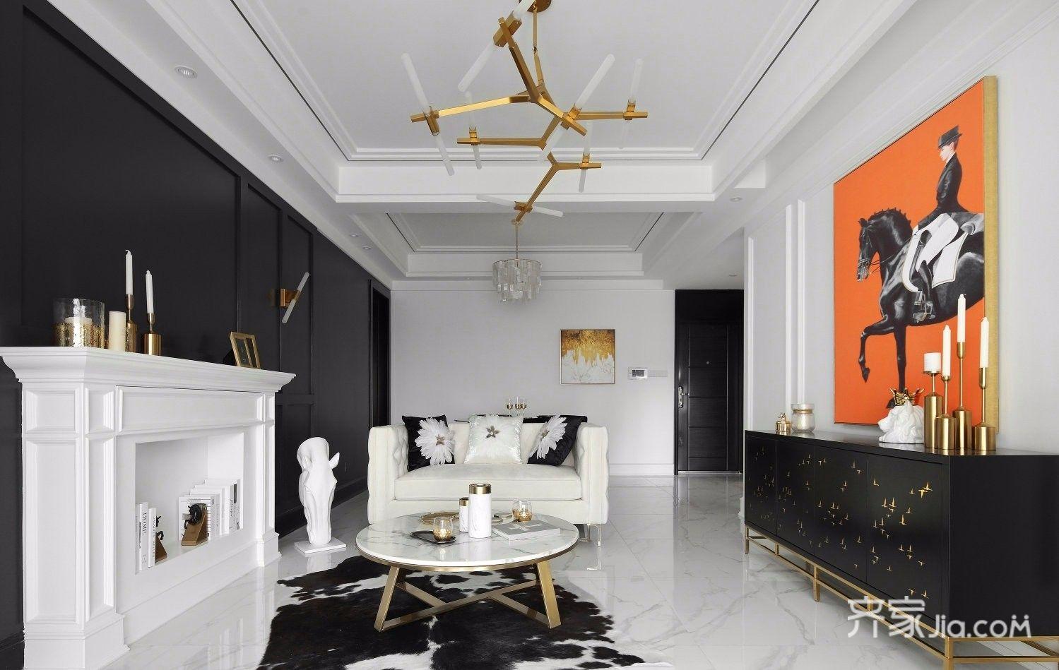 现代轻奢黑白经典风客厅装修效果图