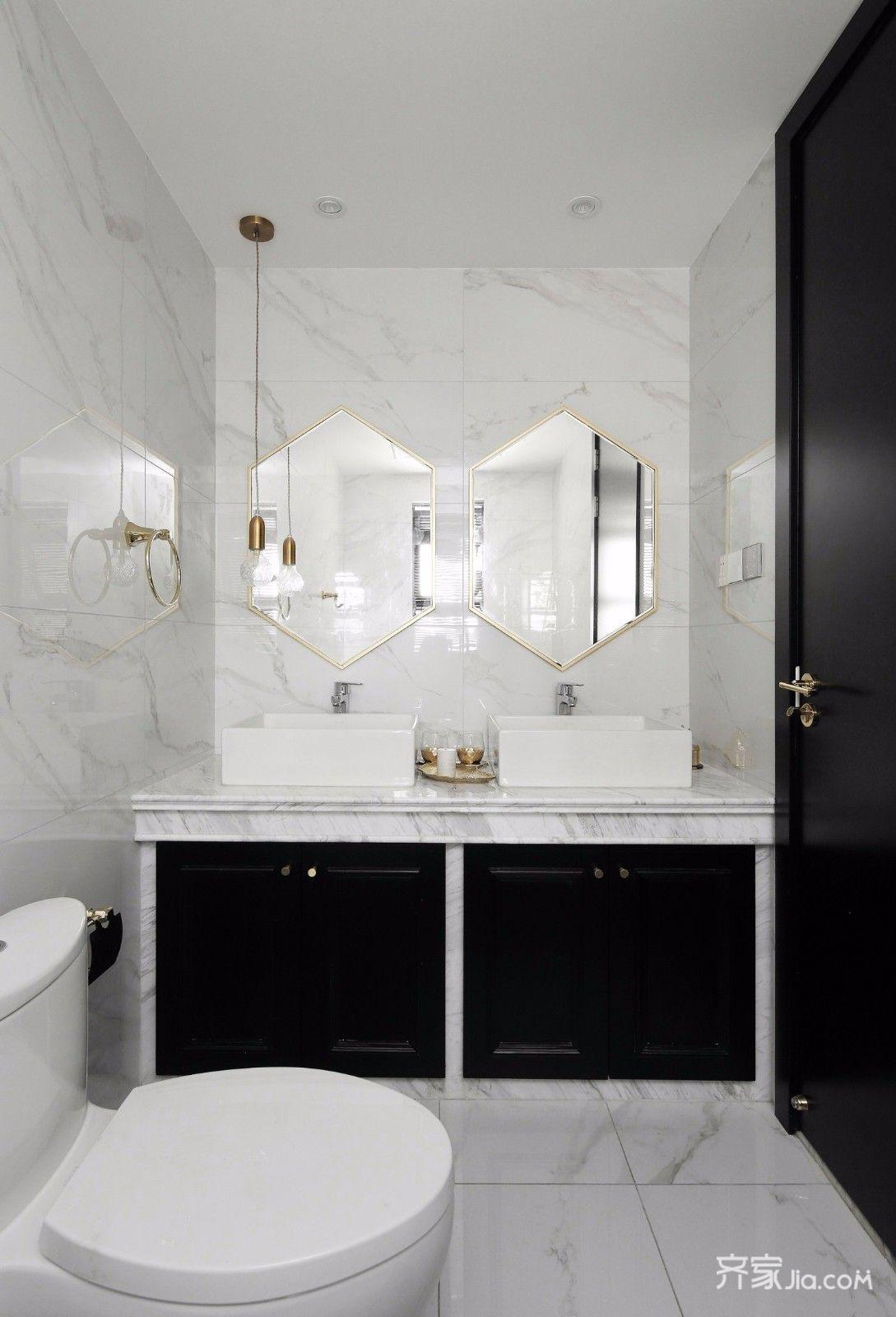 现代轻奢黑白经典风卫生间装修效果图