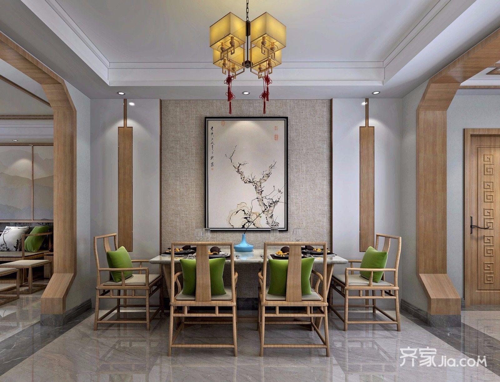 新中式风大户型餐厅装修效果图