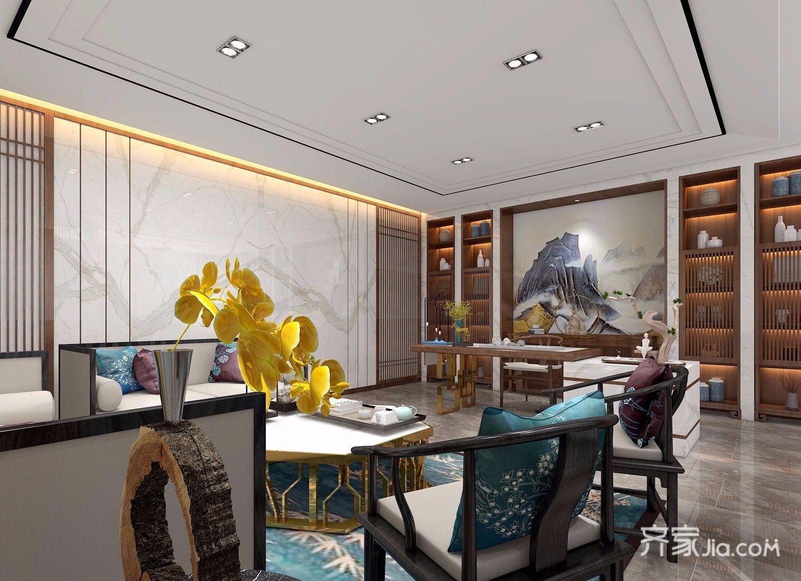 新中式风大户型客厅吊顶装修效果图