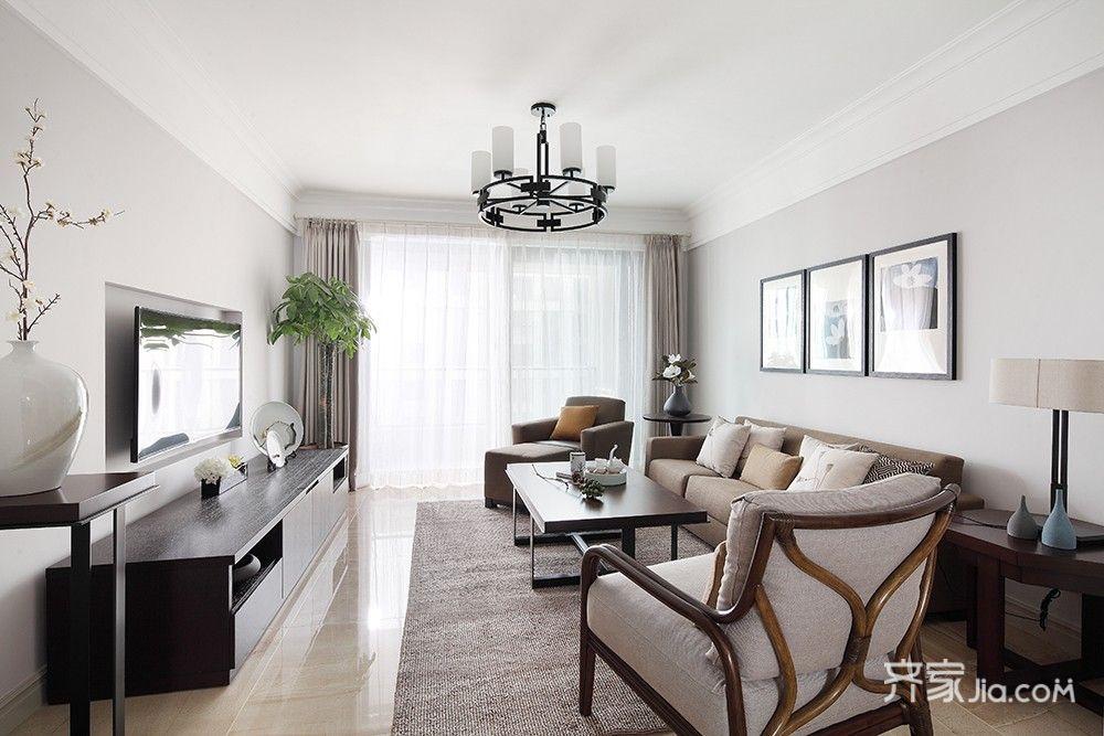 125平简约中式三居客厅装修效果图