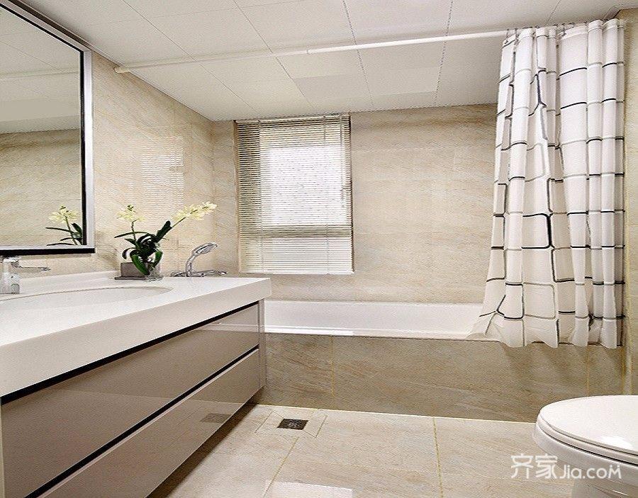 125平简约中式三居卫生间装修效果图