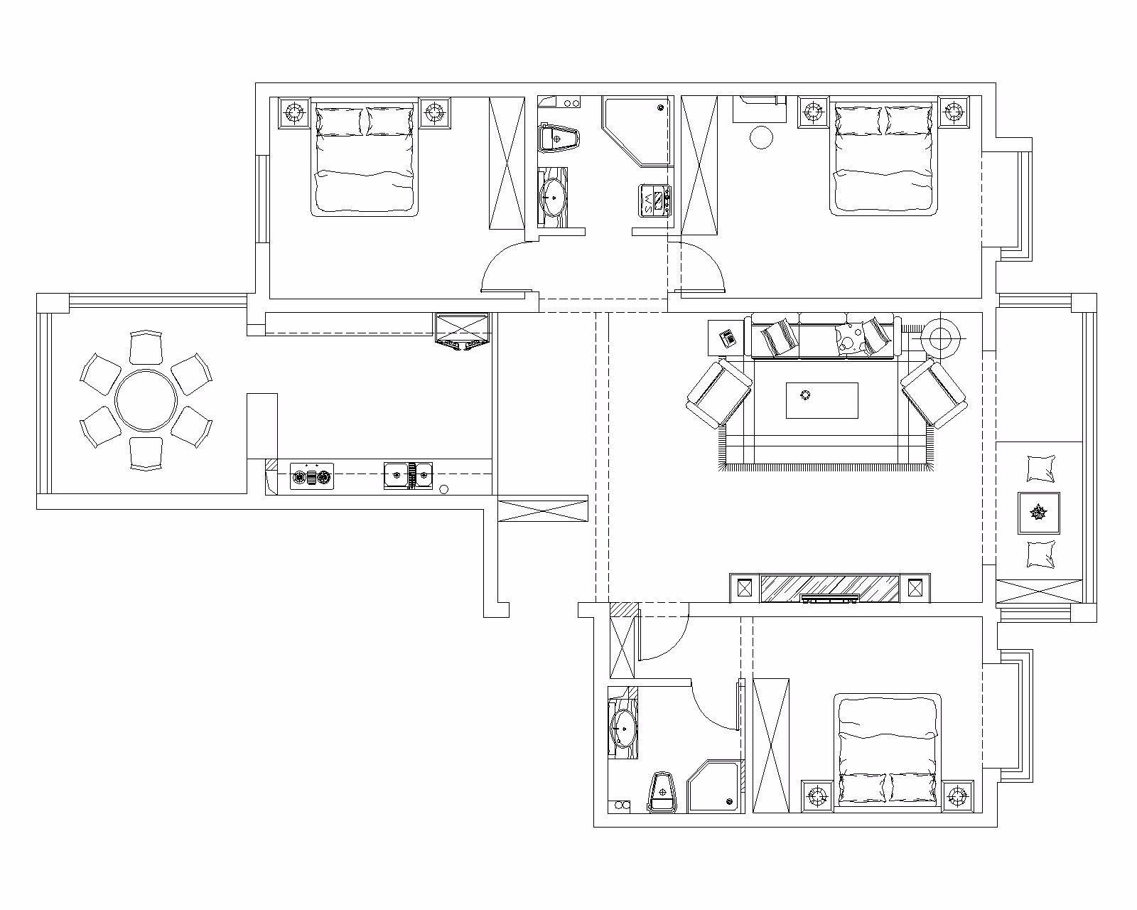130平米新中式风格装修平面图