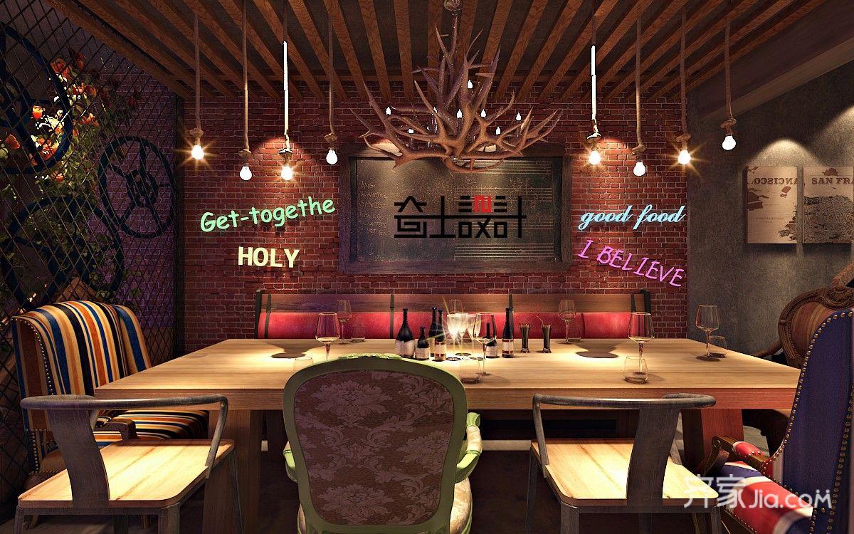 混搭风格休闲会馆装修餐厅背景墙效果图