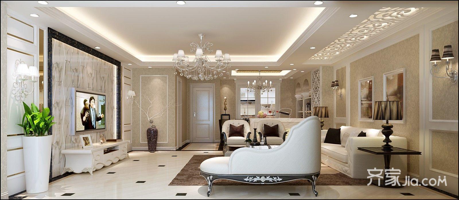 复式欧式混搭别墅客厅装修效果图