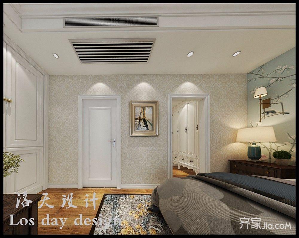 现代美式风格别墅卧室吊顶装修效果图
