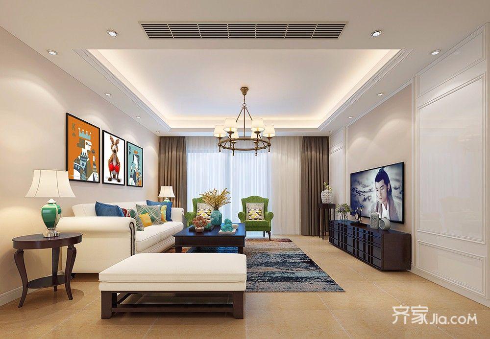 140平米美式风格客厅装修效果图