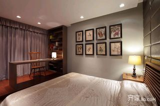 中式混搭三居卧室装修设计效果图