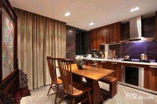 中式混搭三居厨餐厅装修设计效果图