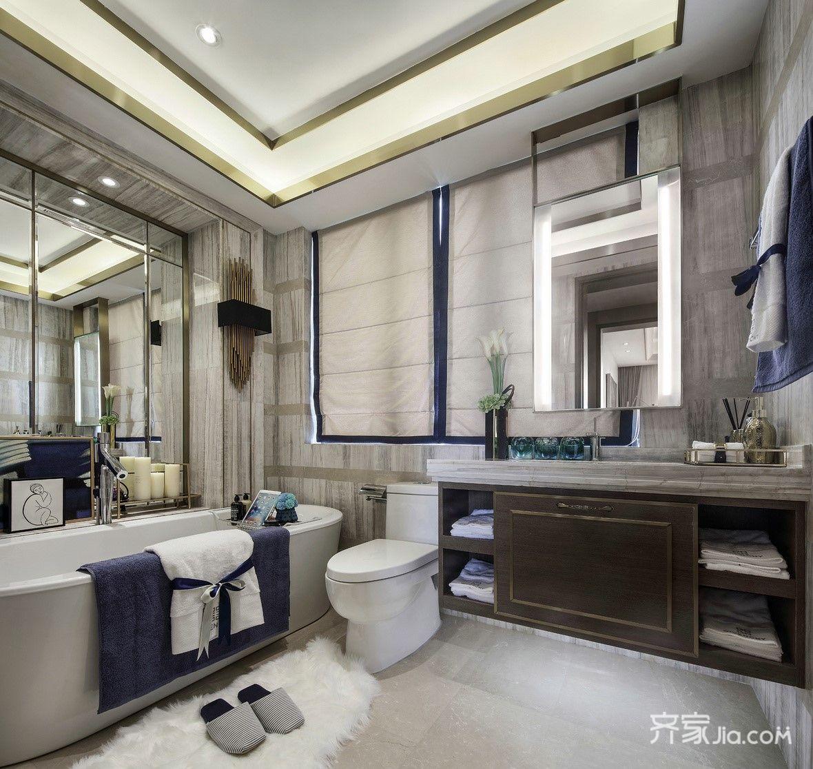 现代奢华复式装修卫生间设计效果图