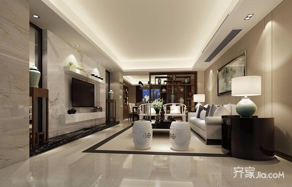 现代中式简约三居客厅装修效果图