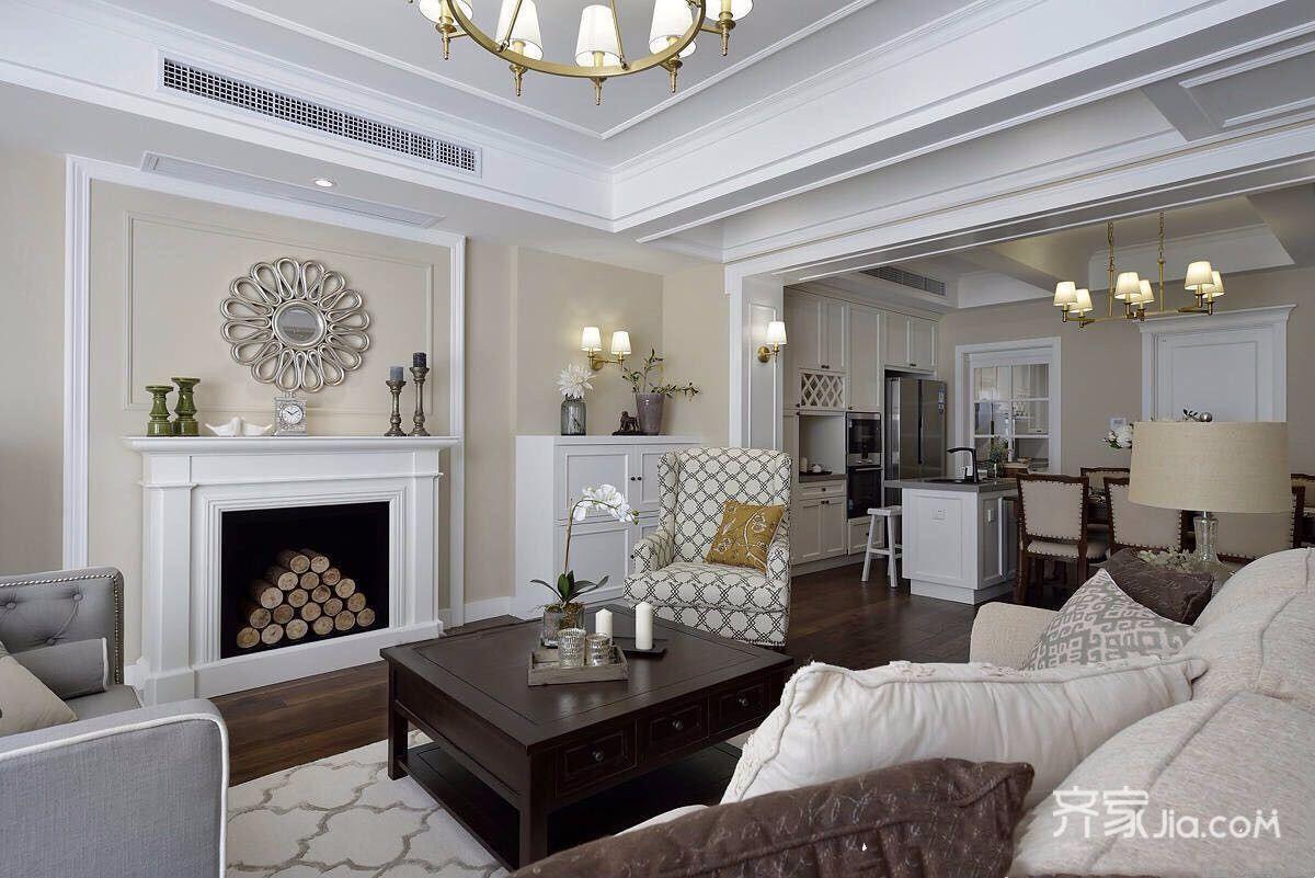 美式风格大户型客厅装修设计效果图