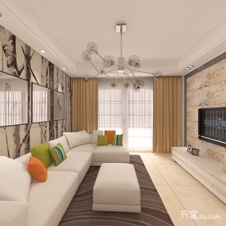 130平现代风格四居客厅装修效果图