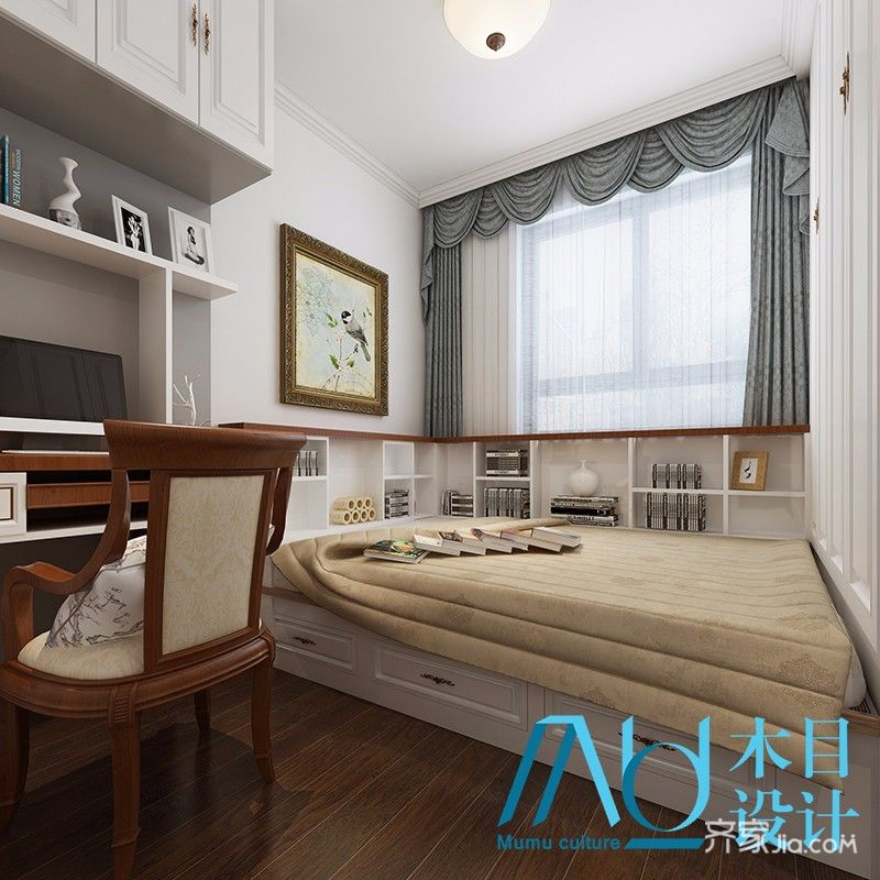 美式风格四房榻榻米卧室装修效果图