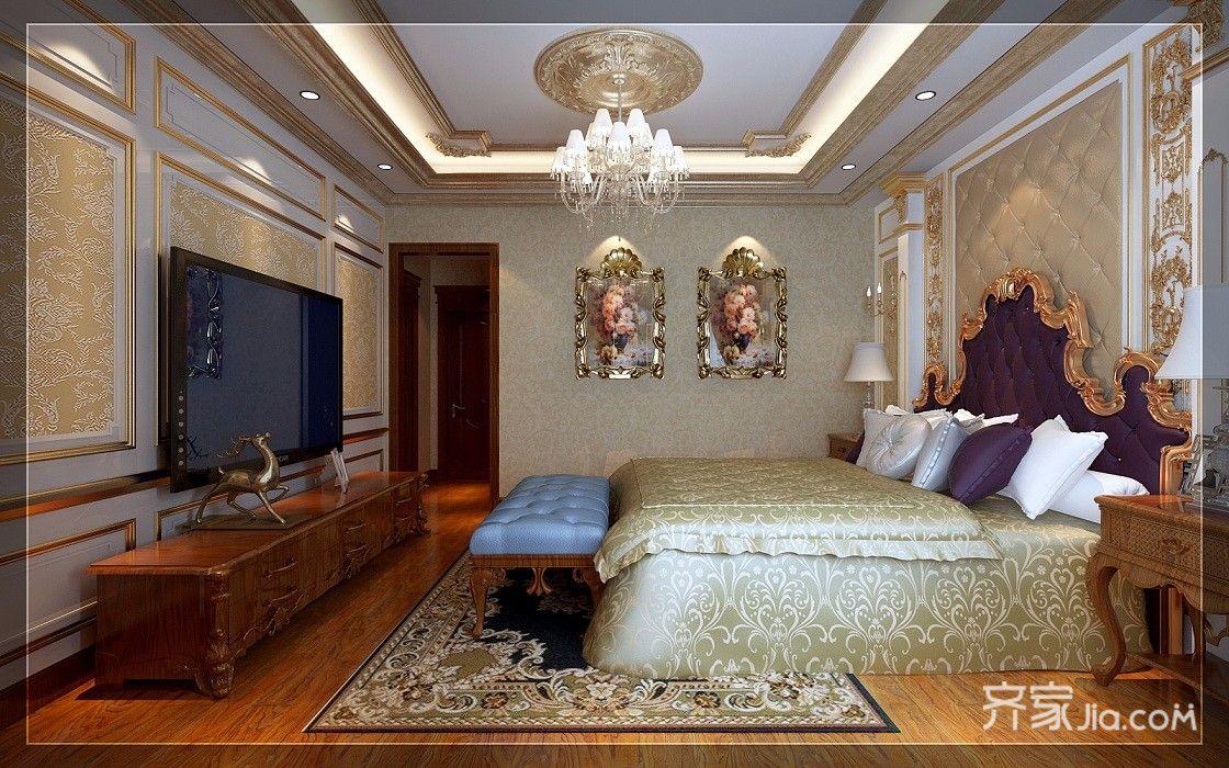 古典欧式豪华别墅卧室吊顶装修效果图