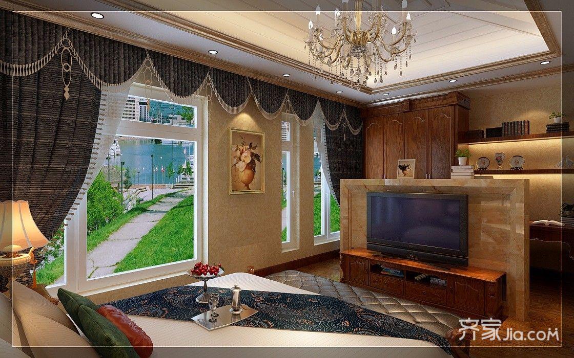 古典欧式豪华别墅装修电视墙隔断效果图