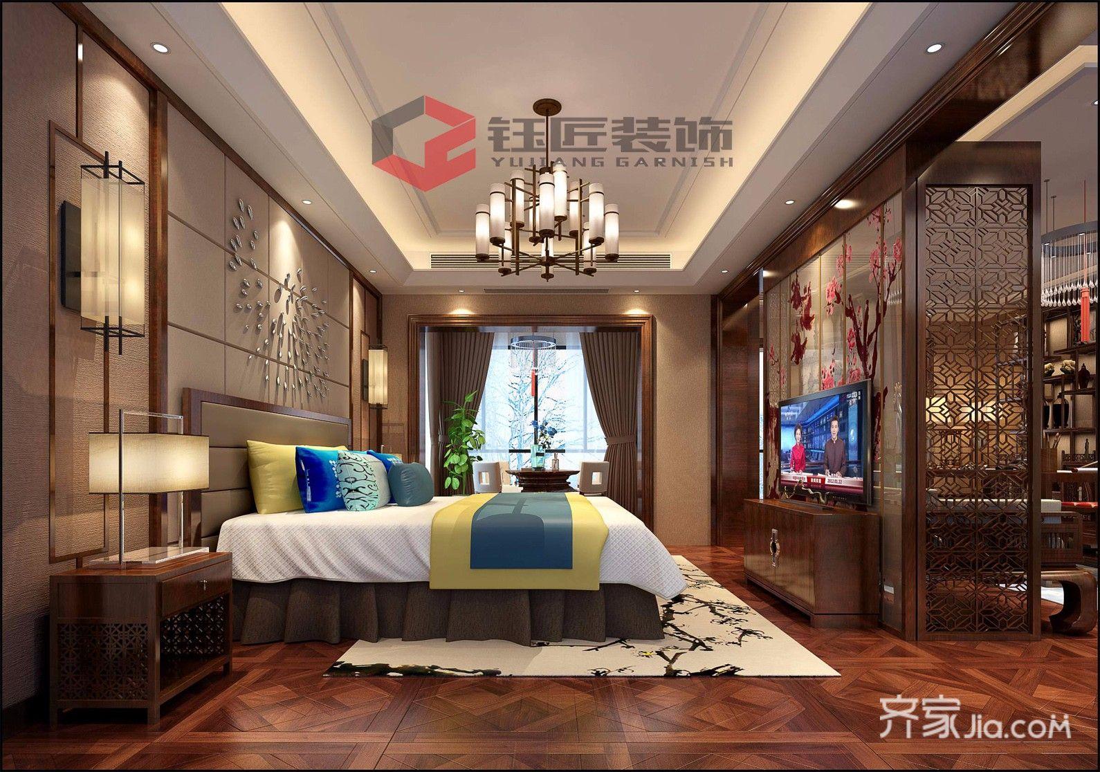 豪华新中式风格别墅卧室装修效果图