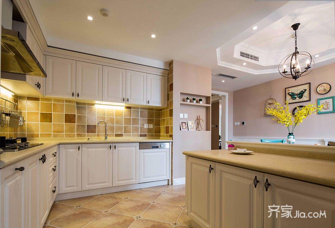 128平美式三居装修橱柜设计图