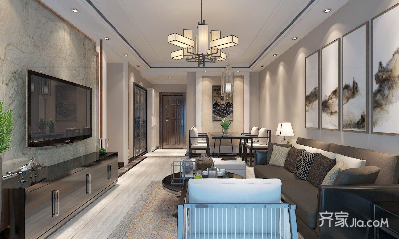 新中式三居室客厅装修设计效果图